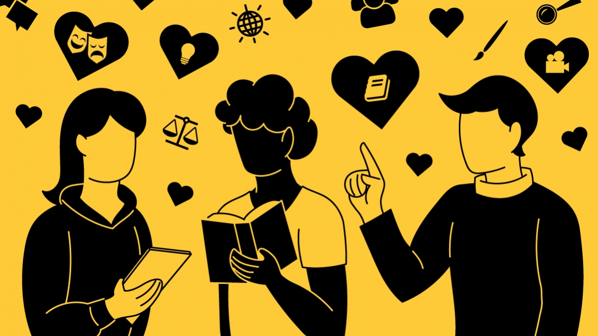 illustration of three people reading about the humanities