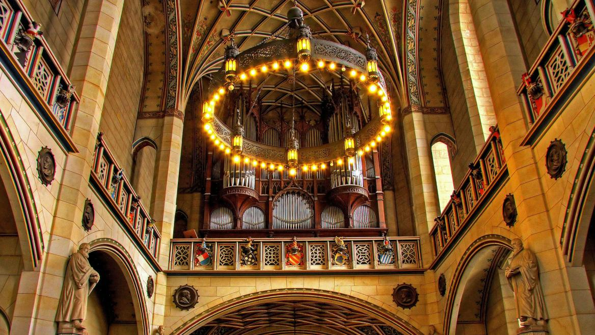 The organ inside a church in Germany